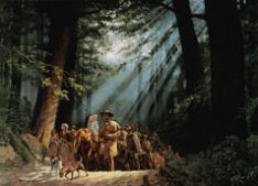 """""""Gateway to the West: Daniel Boone Leading the Settlers through the Cumberland Gap, 1775"""" by David Wright, 2002"""